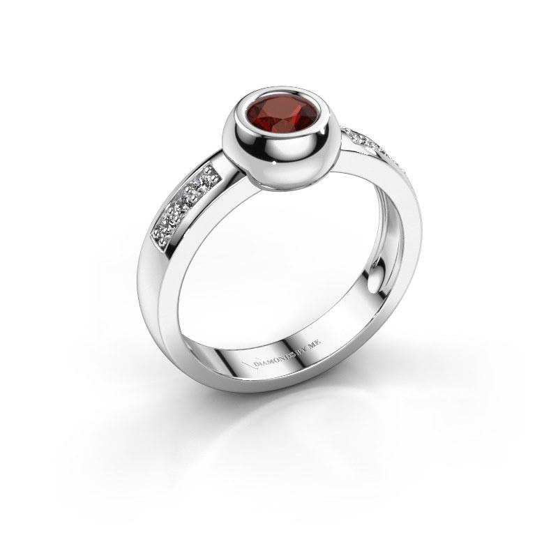 Ring Charlotte Round 925 zilver granaat 4.7 mm