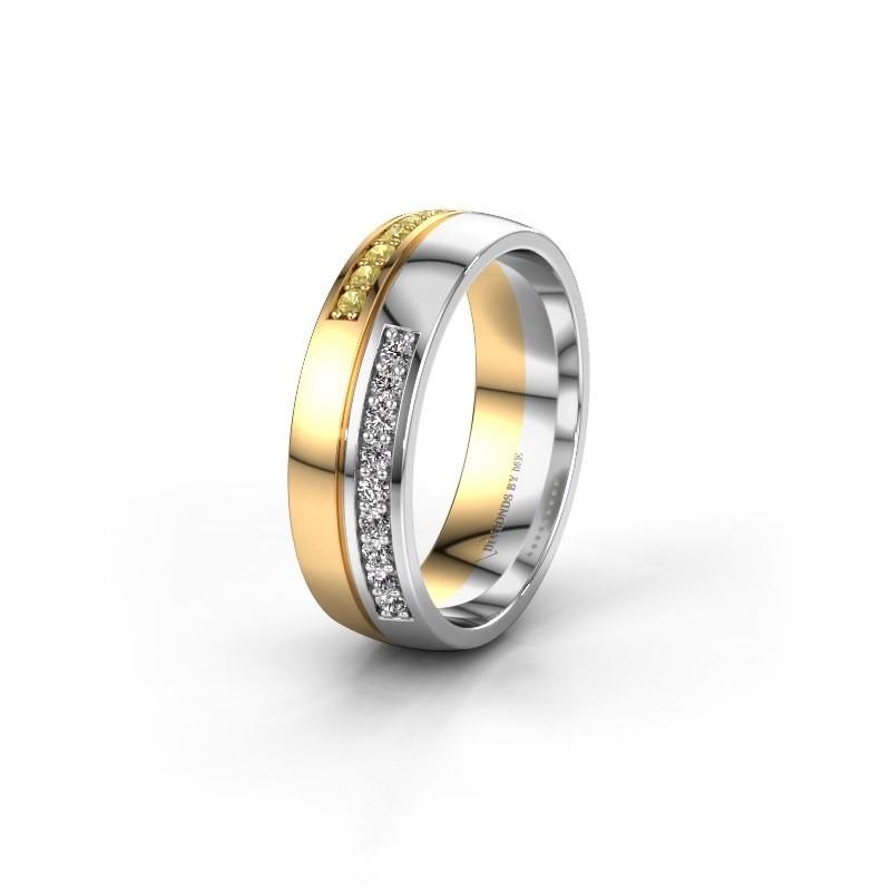 Trouwring WH0213L26AP 585 goud gele saffier ±6x1.7 mm