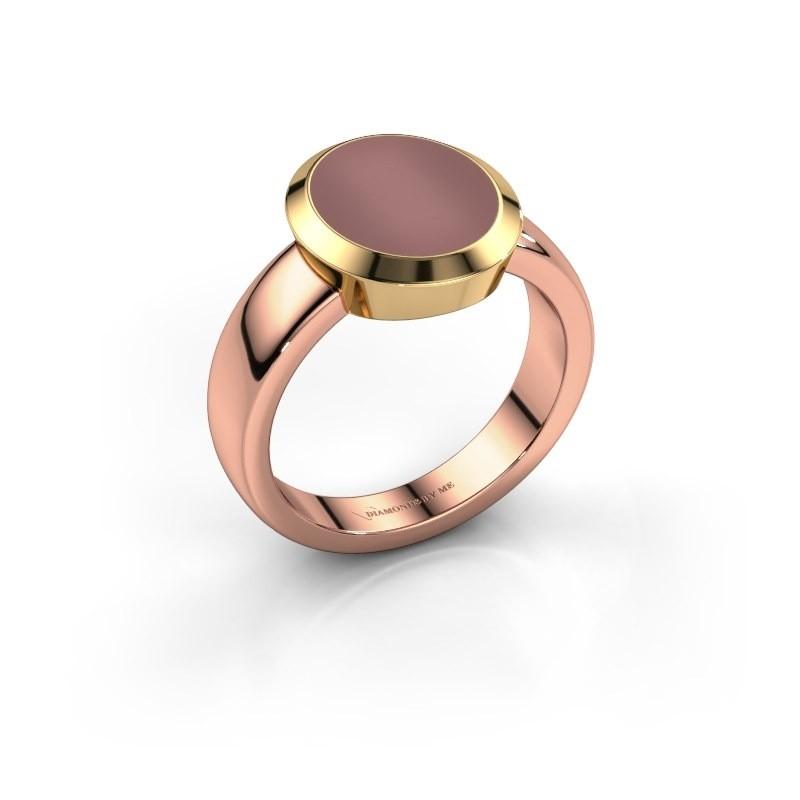 Zegelring Oscar 3 585 rosé goud carneool 12x10 mm