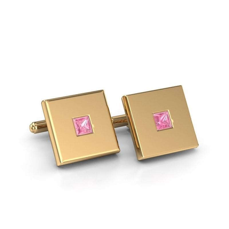 Cufflinks Givanti 585 gold pink sapphire 4 mm