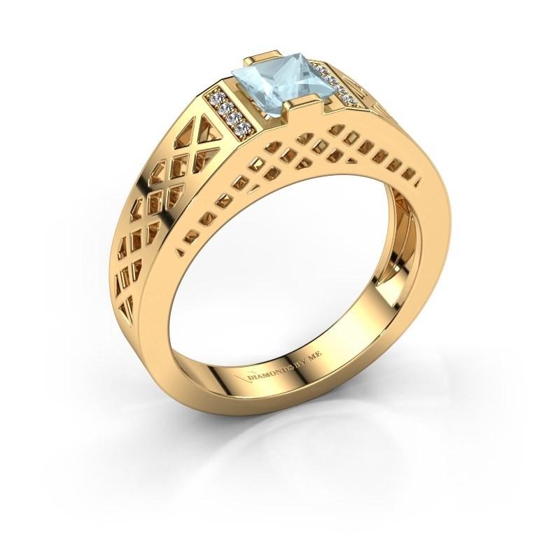 Heren ring Jonathan 585 goud aquamarijn 5 mm