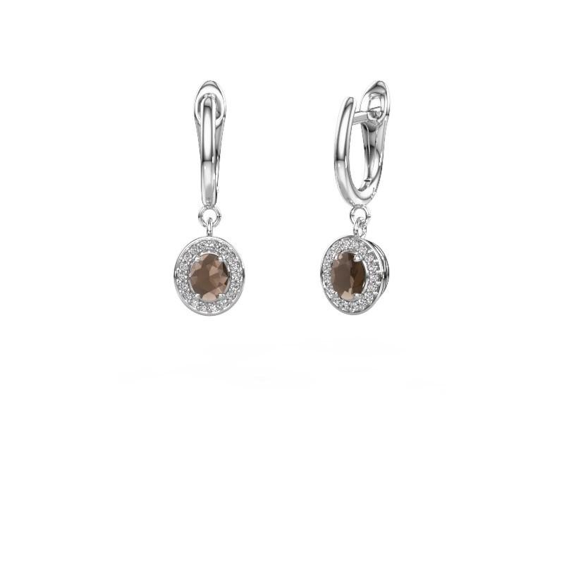 Pendants d'oreilles Nakita 585 or blanc quartz fumé 5x4 mm