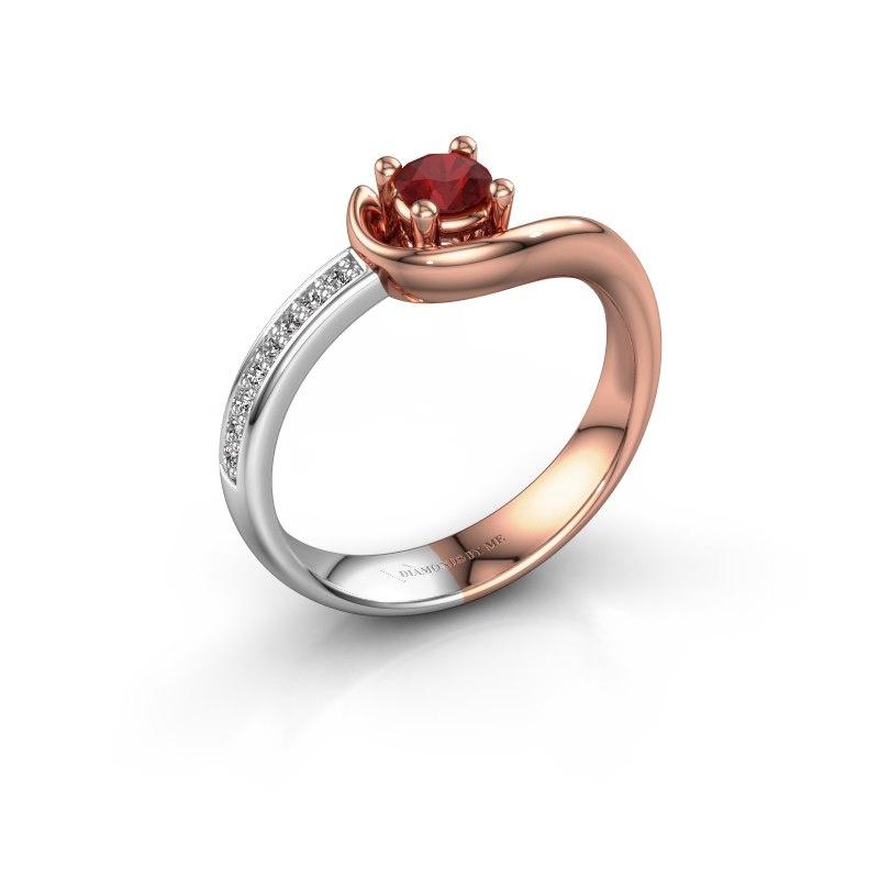 Ring Ceylin 585 rosé goud robijn 4 mm