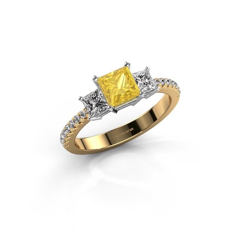Verlovingsring Dorla 585 goud gele saffier 5 mm