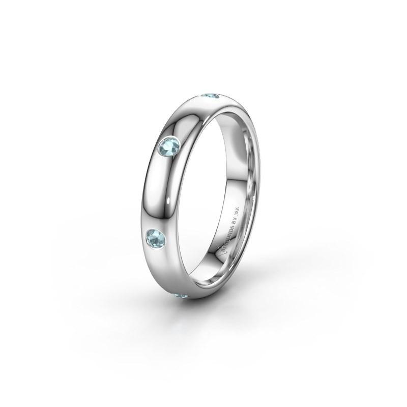 Wedding ring WH0105L34BP 950 platinum aquamarine ±0.16x0.08 in