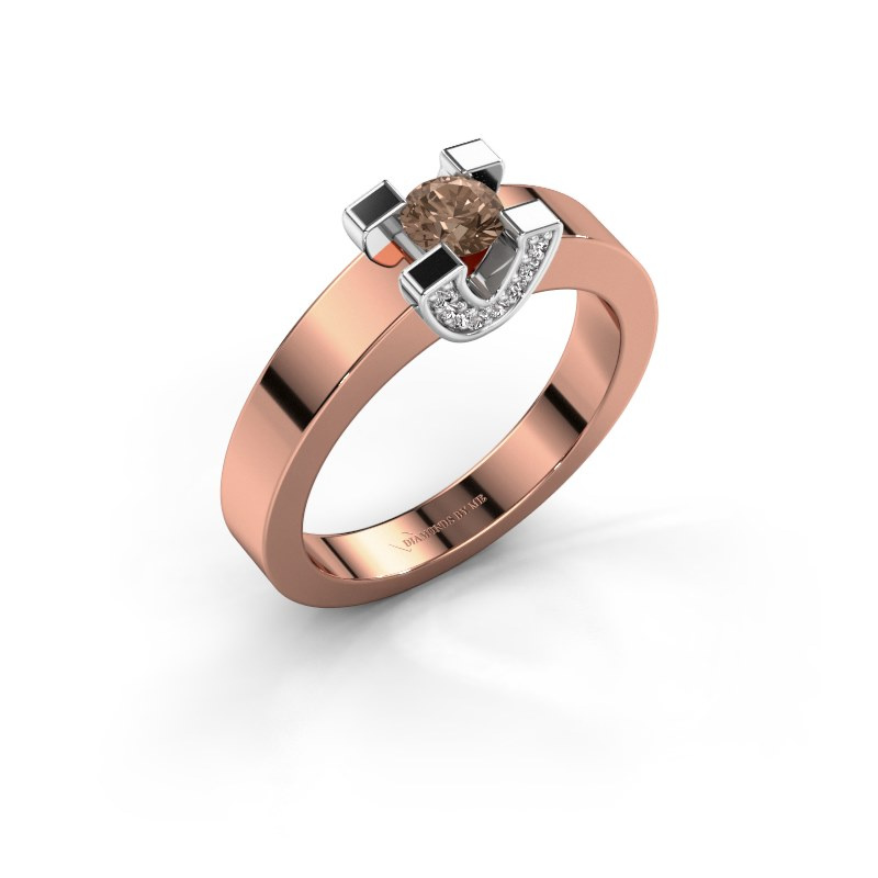 Verlovingsring Jasmijn 1 585 rosé goud bruine diamant 0.38 crt