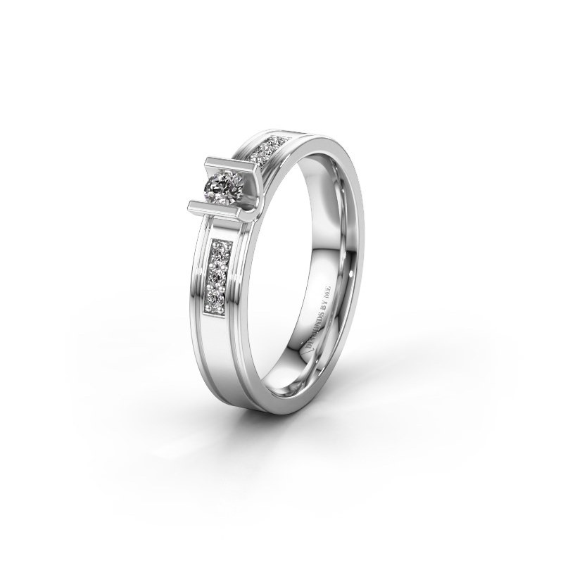 Trouwring WH2108L14A 950 platina diamant ±4x1.7 mm
