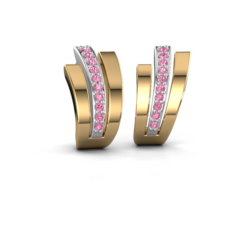 Oorbellen Emeline 585 witgoud roze saffier 1.1 mm