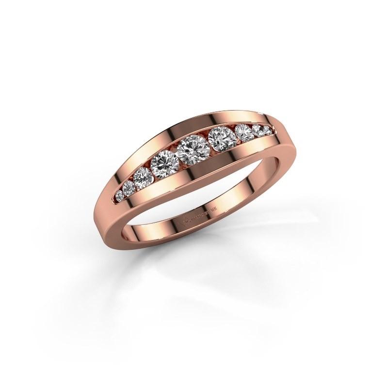 Ring Oneida 375 rose gold lab-grown diamond 0.363 crt