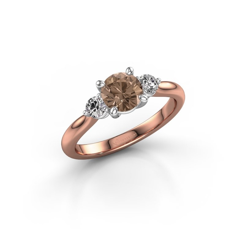 Verlovingsring Lieselot RND 585 rosé goud bruine diamant 1.30 crt