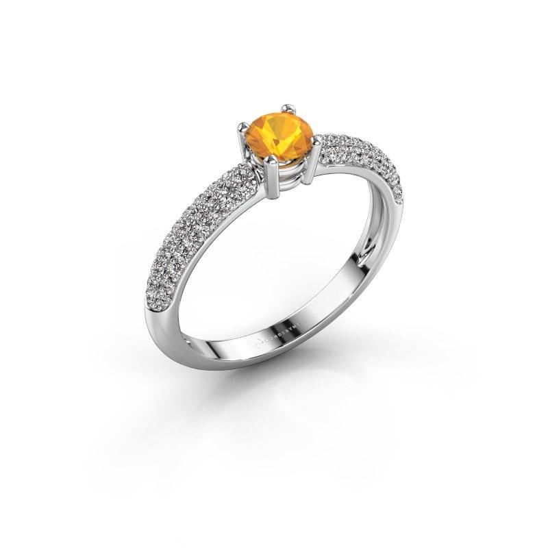 Verlobungsring Marjan 585 Weißgold Citrin 4.2 mm