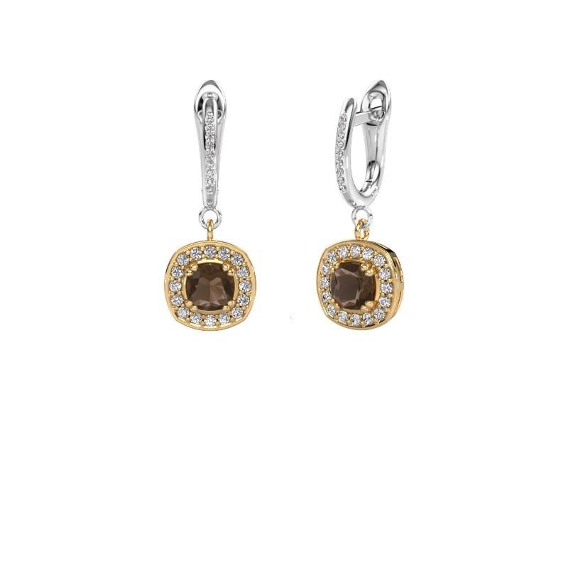 Oorhangers Marlotte 2 585 goud rookkwarts 5 mm