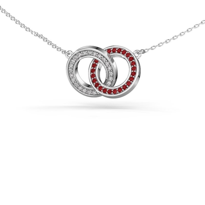 Halsketting Circles 2 585 witgoud robijn 1 mm