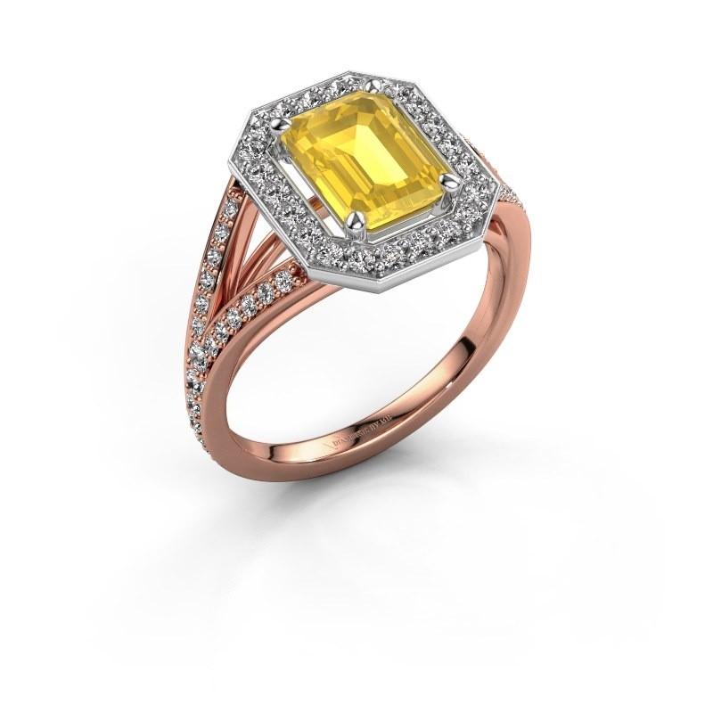 Promise ring Angelita EME 585 rosé goud gele saffier 8x6 mm