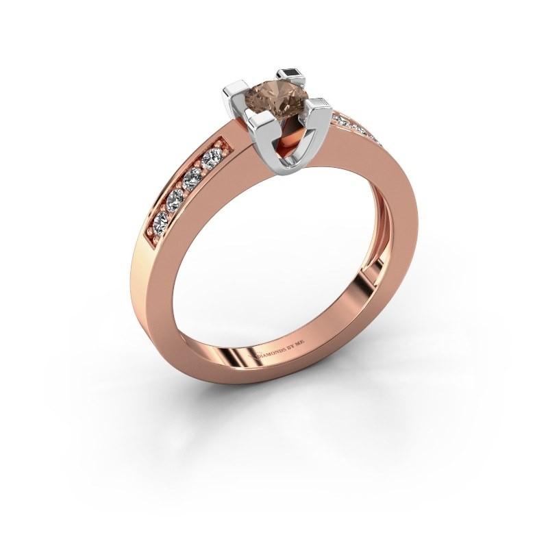 Aanzoeksring Anne 2 585 rosé goud bruine diamant 0.30 crt