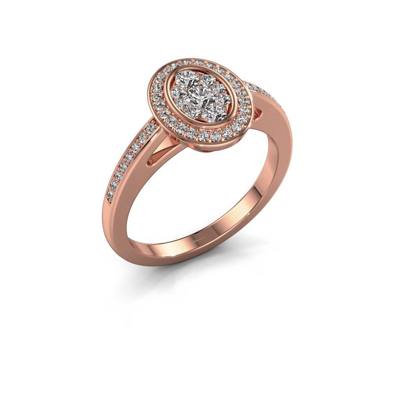 Promise ring Brigitte 375 rose gold diamond 0.505 crt