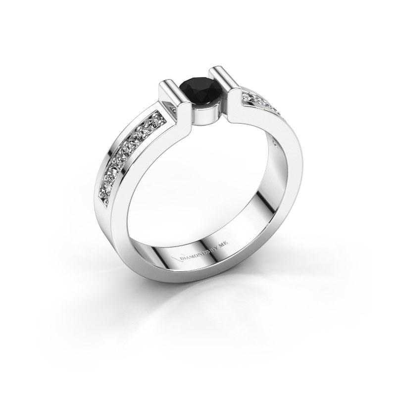 Verlovingsring Isabel 2 925 zilver zwarte diamant 0.30 crt