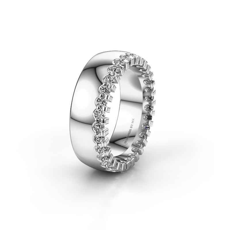 Trouwring WH6120L27C 585 witgoud diamant ±7x2.2 mm