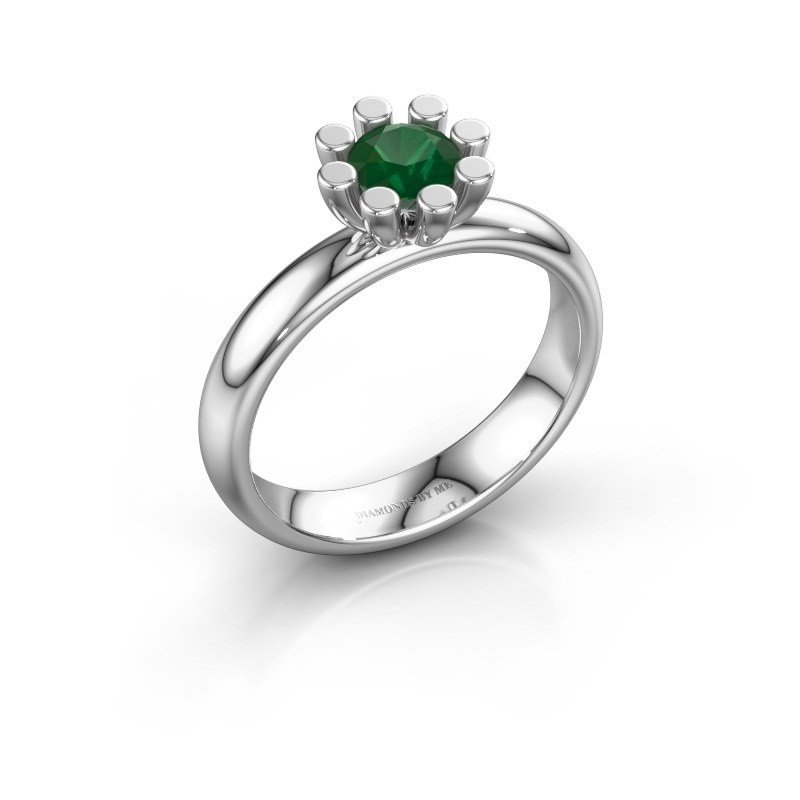 Stapelring Carola 1 585 witgoud smaragd 5 mm