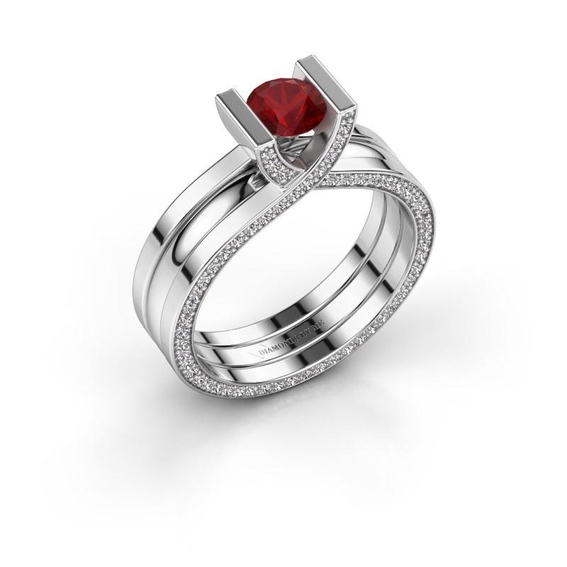 Ring Kenisha 585 witgoud robijn 5 mm
