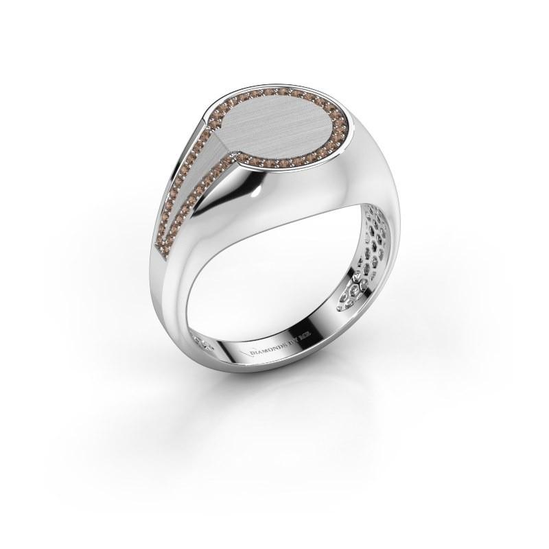 Heren ring Gijs 950 platina bruine diamant 0.22 crt