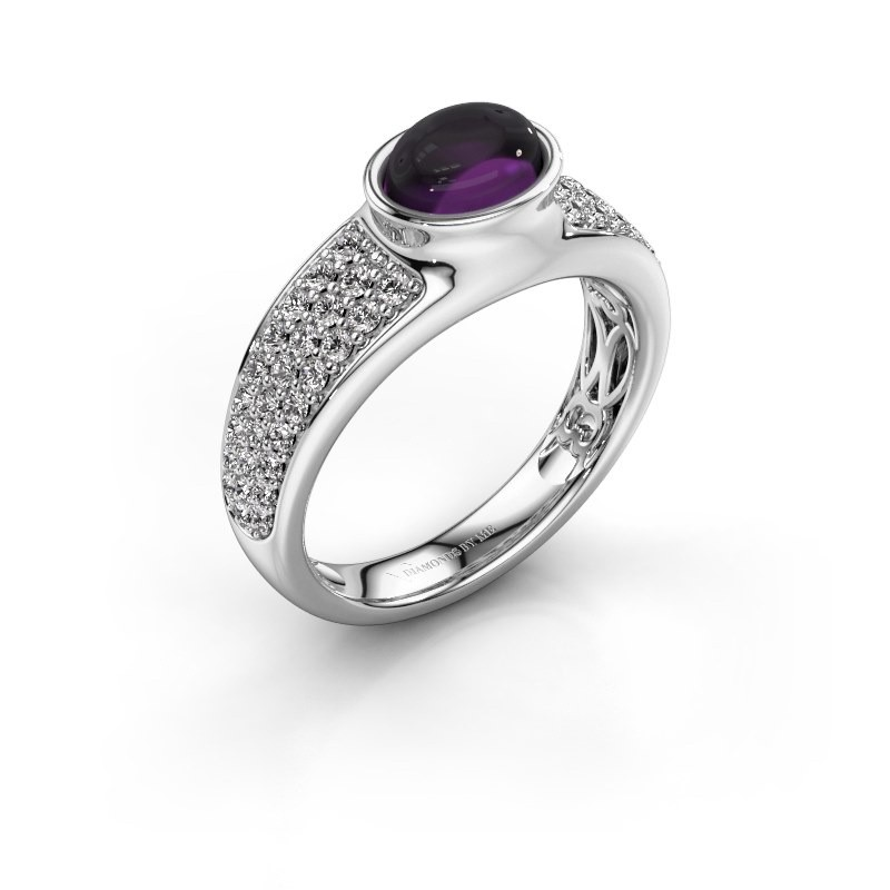 Ring Tatyana 375 white gold amethyst 7x5 mm