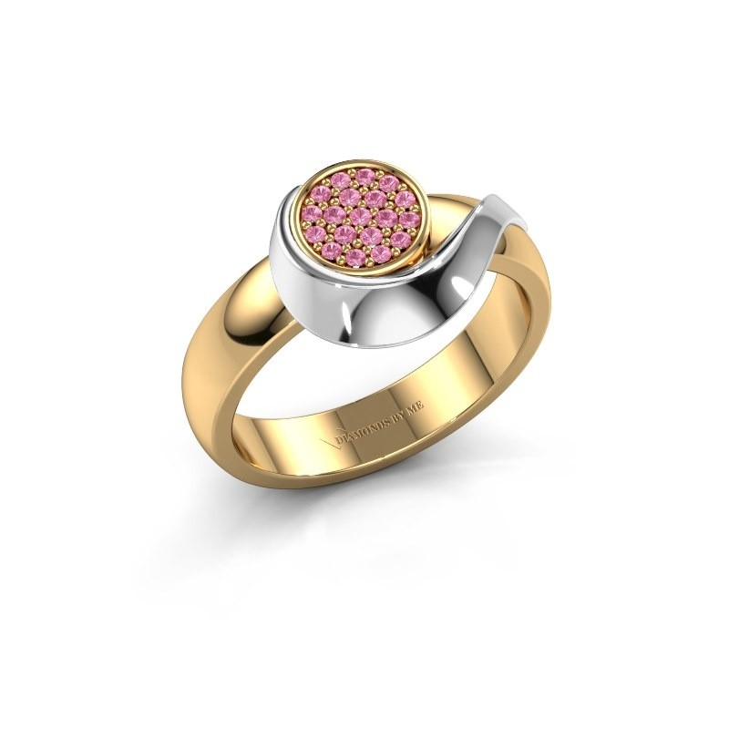 Ring Kimber 585 goud roze saffier 1 mm