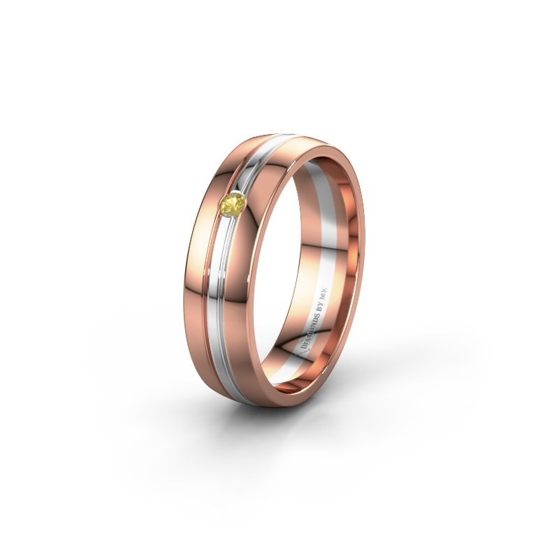 Wedding ring WH0420L25X 585 rose gold yellow sapphire ±5x1.5 mm