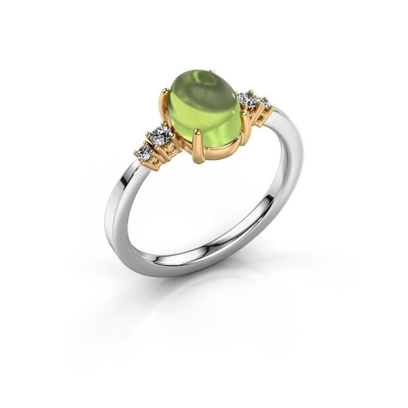 Ring Jelke 585 white gold peridot 8x6 mm