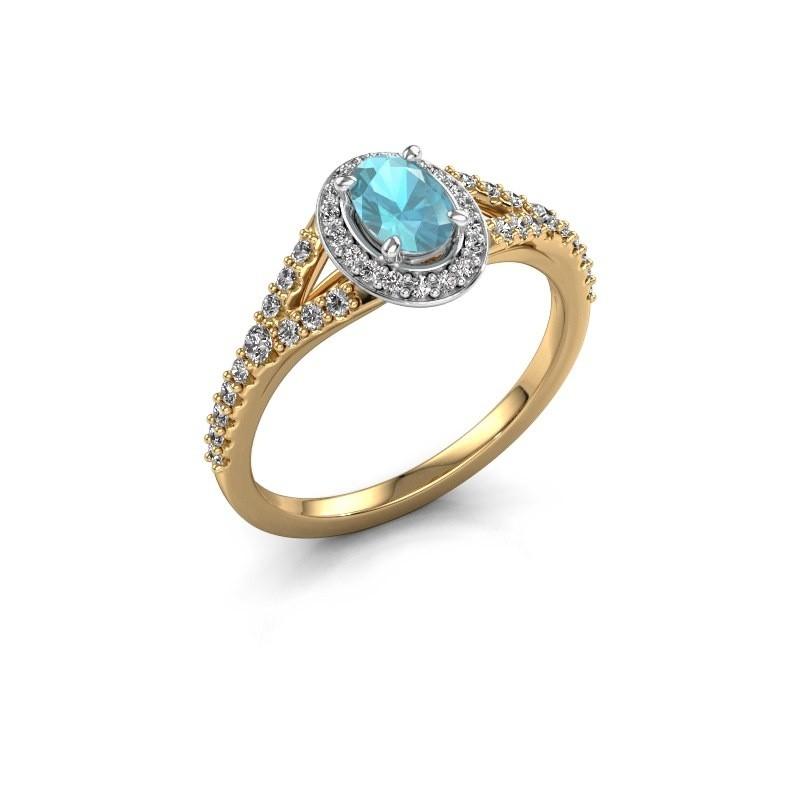 Belofte ring Pamela OVL 585 goud blauw topaas 7x5 mm