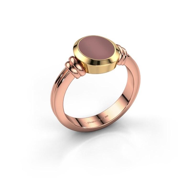 Pinkring Jake 1 585 rosé goud carneool 10x8 mm