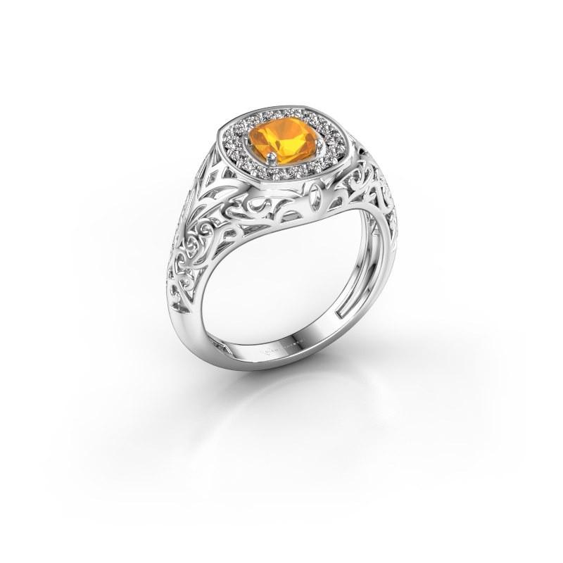 Men's ring Quinten 950 platinum citrin 5 mm