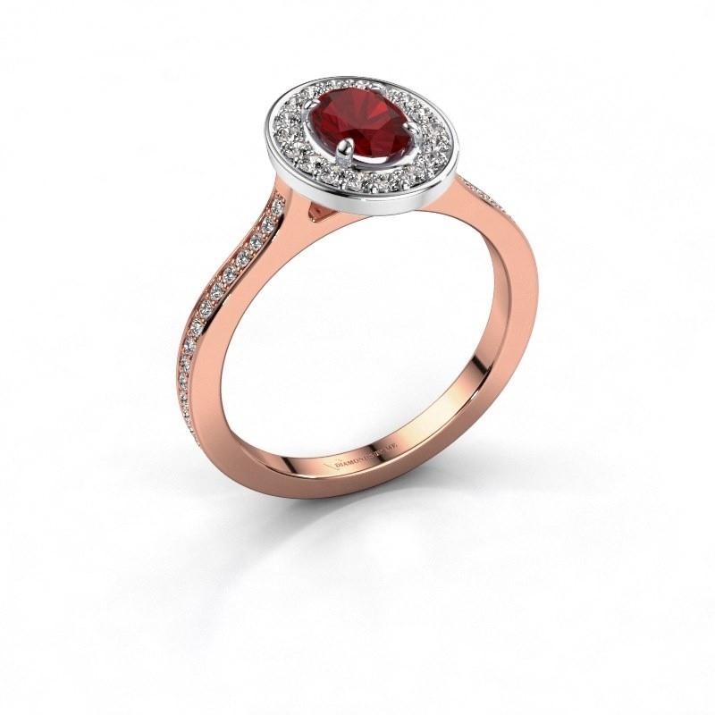 Ring Madelon 2 585 rosé goud robijn 7x5 mm