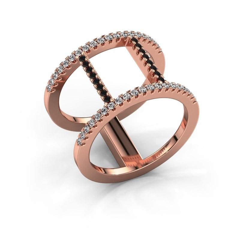 Ring Amee 375 rosé goud zwarte diamant 0.467 crt