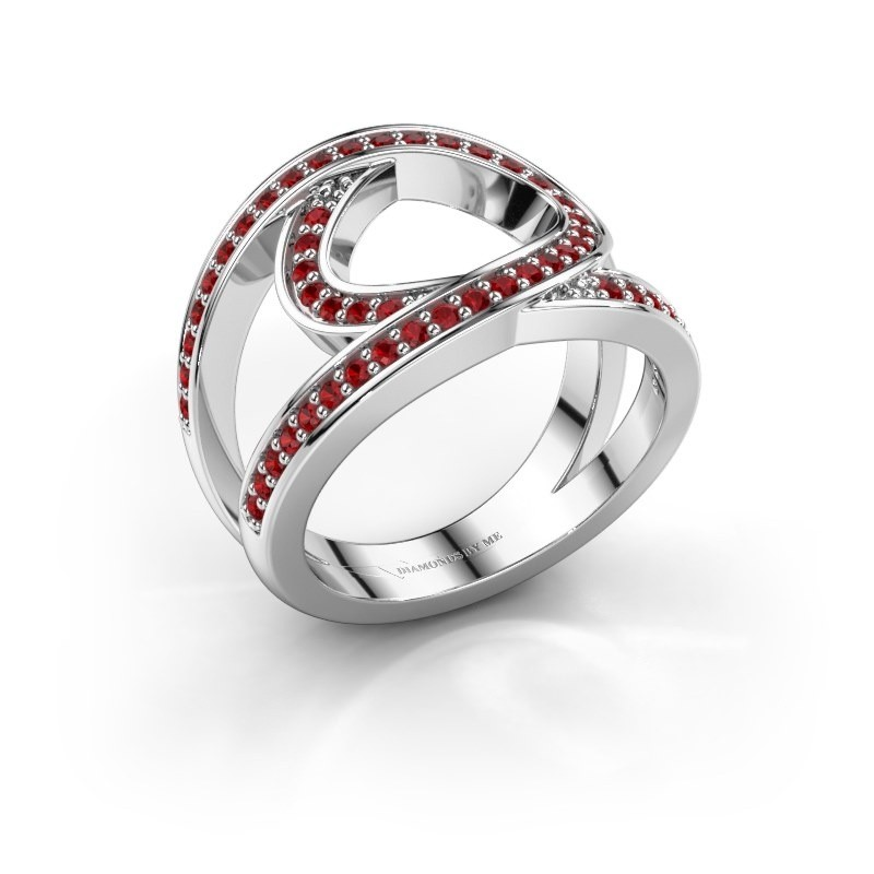Ring Louise 585 witgoud robijn 1.2 mm
