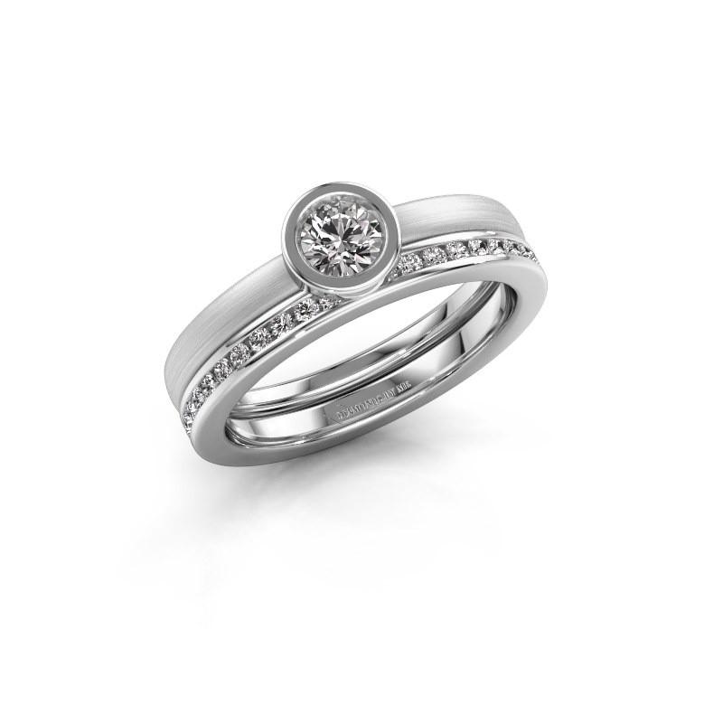 Ring Cara 585 white gold zirconia 4 mm