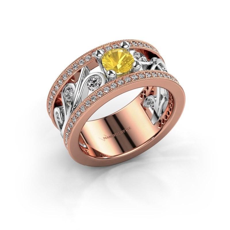 Ring Sanne 585 rosé goud gele saffier 5 mm