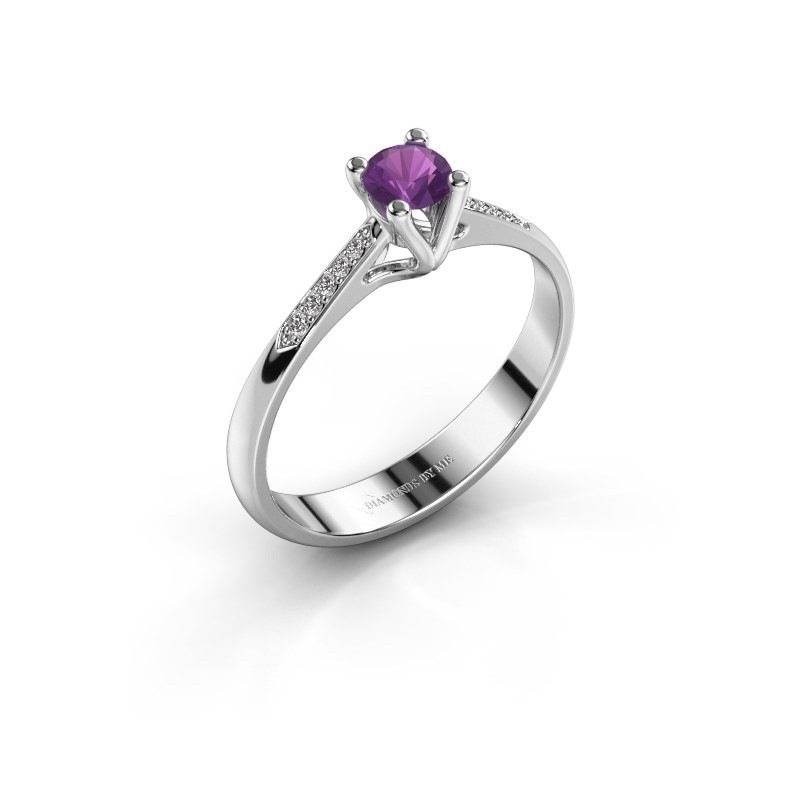 Promise ring Janna 2 585 witgoud amethist 4 mm
