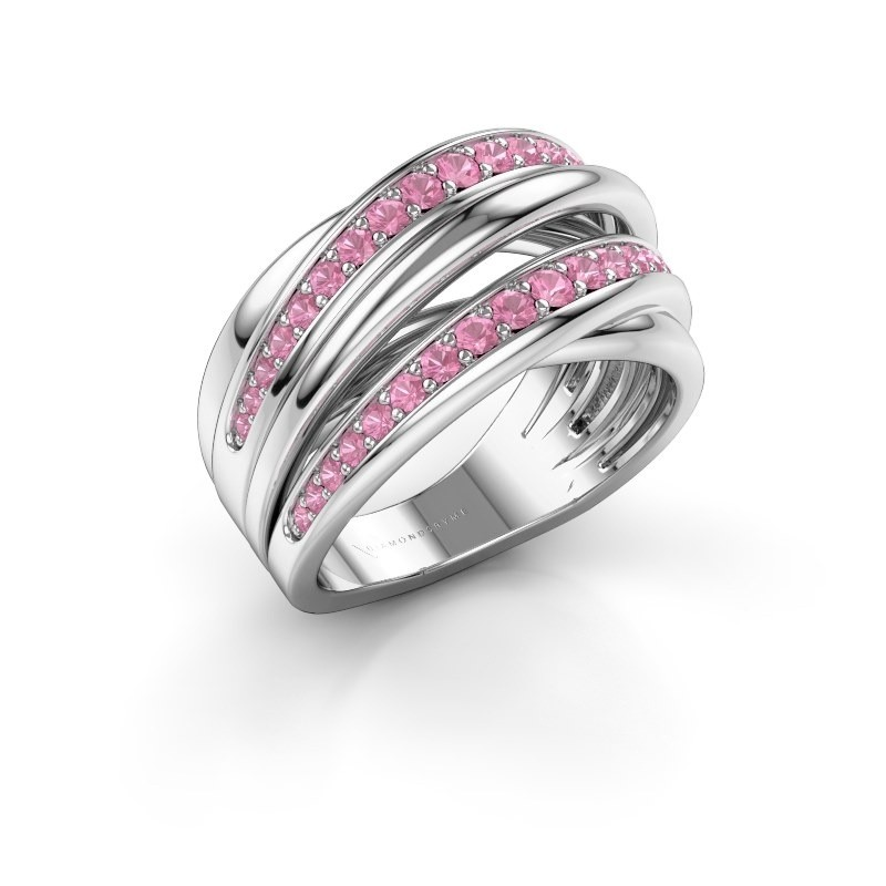 Ring Marylouise 2 585 witgoud roze saffier 1.2 mm