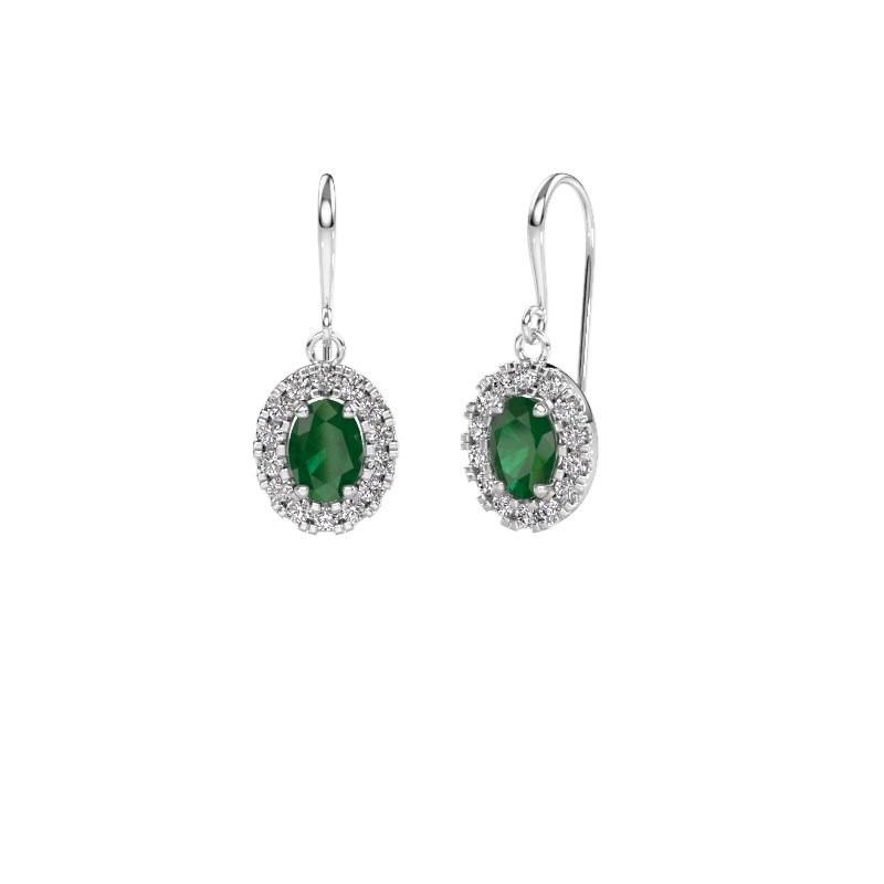 Oorhangers Jorinda 1 950 platina smaragd 7x5 mm