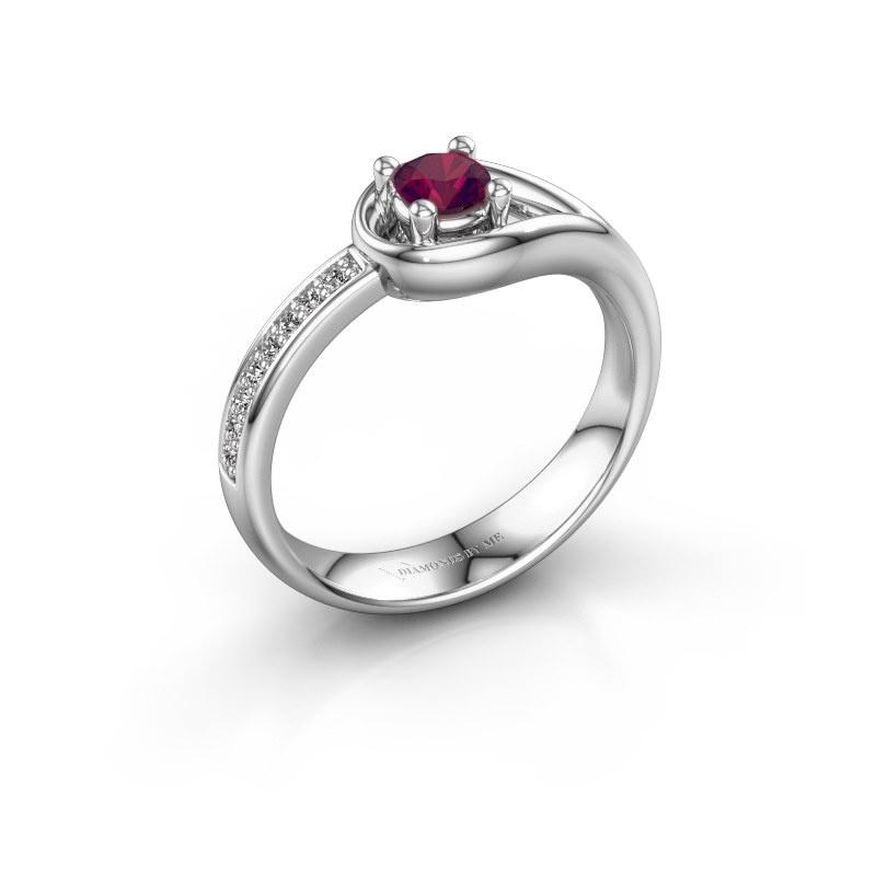 Ring Zara 585 witgoud rhodoliet 4 mm