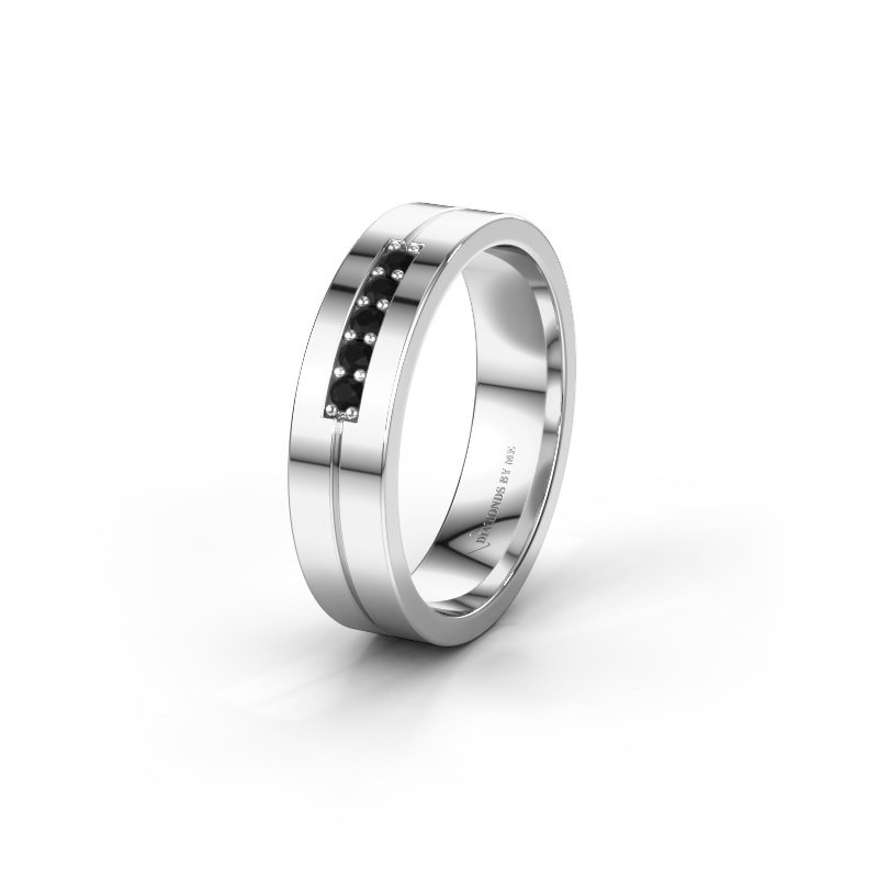 Trouwring WH0211L15AP 950 platina zwarte diamant ±5x1.7 mm