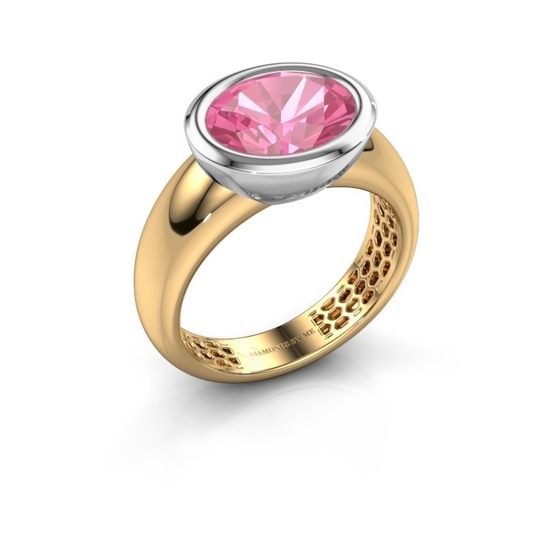 Bague Evelyne 585 or jaune saphir rose 10x8 mm
