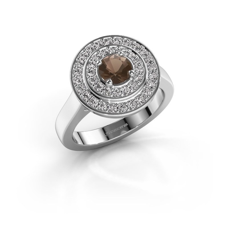 Ring Alecia 1 585 witgoud rookkwarts 5 mm