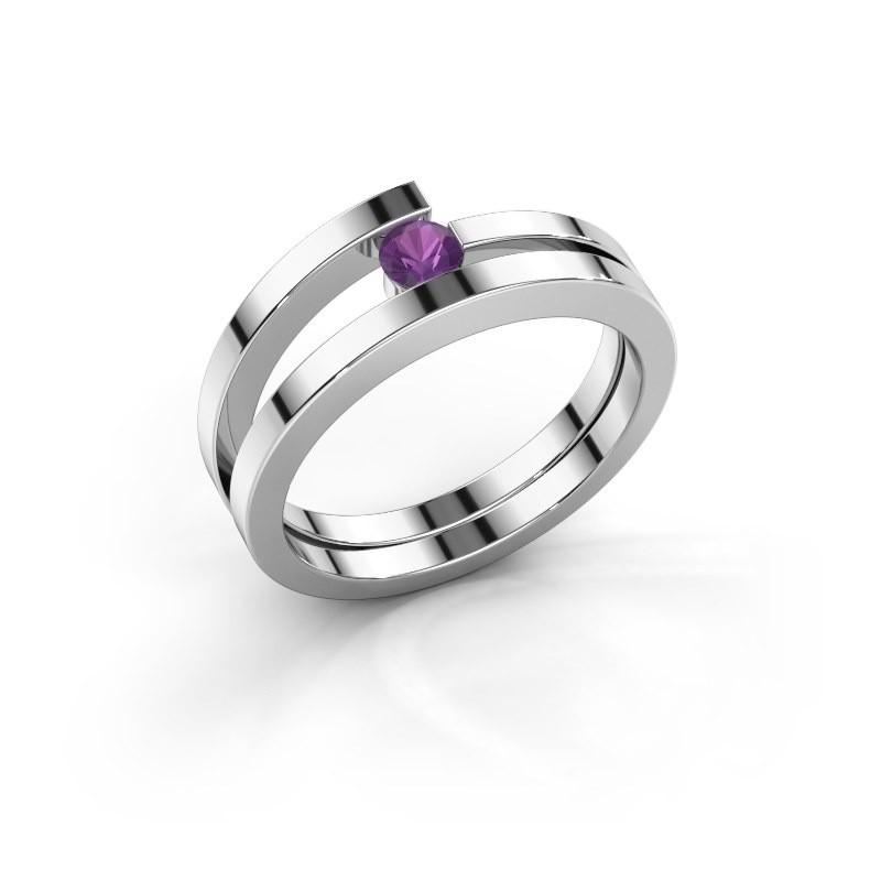 Ring Sandy 585 witgoud amethist 3.4 mm