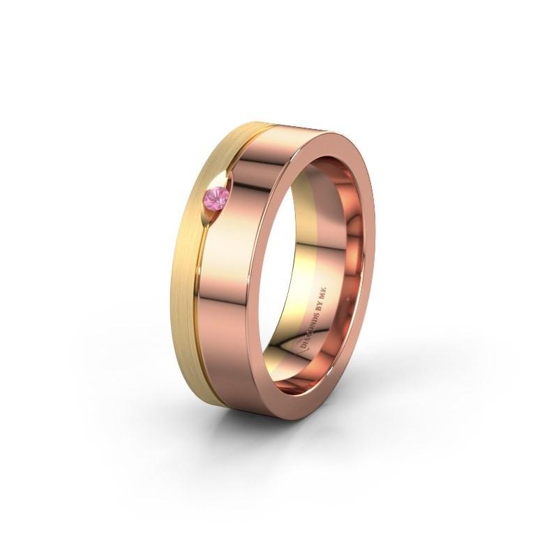 Trouwring WH0329L16B 585 rosé goud roze saffier ±6x2 mm