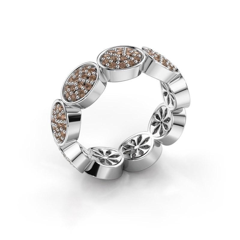 Ring Robin 585 witgoud bruine diamant 0.945 crt