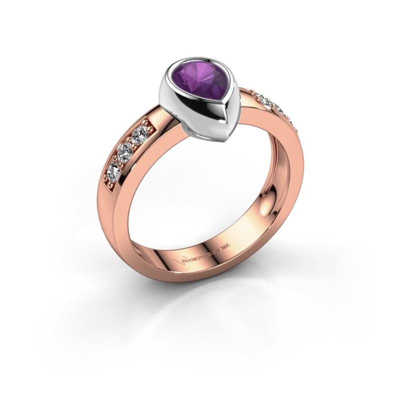 Ring Charlotte Pear 585 rose gold amethyst 8x5 mm