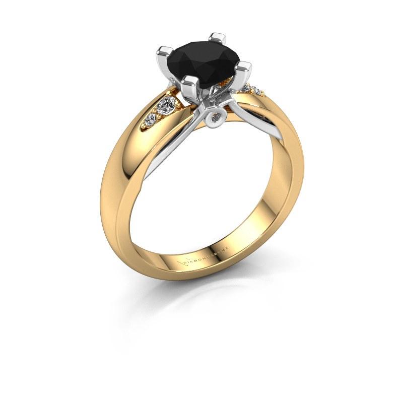 Engagement ring Ize 585 gold black diamond 1.38 crt
