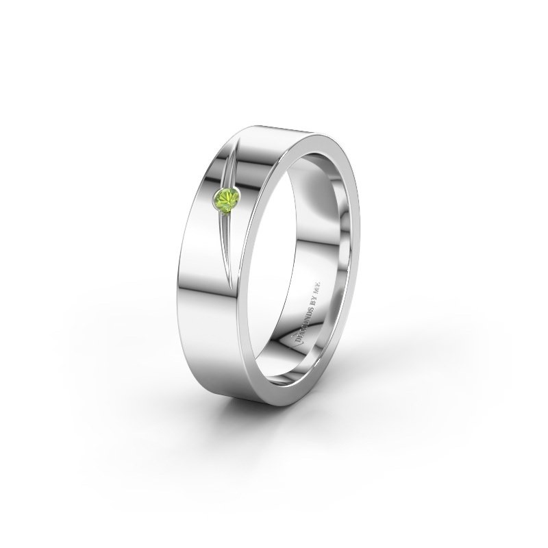 Wedding ring WH0170L15A 585 white gold peridot ±0.20x0.07 in